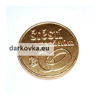 Svatební mince s ražbou - svatební prsteny
