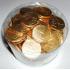 Zlaté čokoládové mince s ražbou - balení blistr- cca 130 ks
